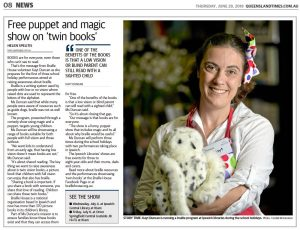 Newspaper article from Queensland Times: Free puppet and magic show on twin books