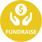 Yellow circle with two hands held up around smaller white circle with dollar symbol and word Fundraise