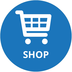 White shopping cart above the word SHOP over an orange circle