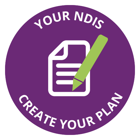 Your NDIS - create your plan - white page with lines and green pen above on purple circle