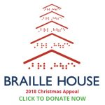 Braille House logo with stacked roof icons to look like a Christmas tree, words below: 2018 Christmas Appeal Click to donate now