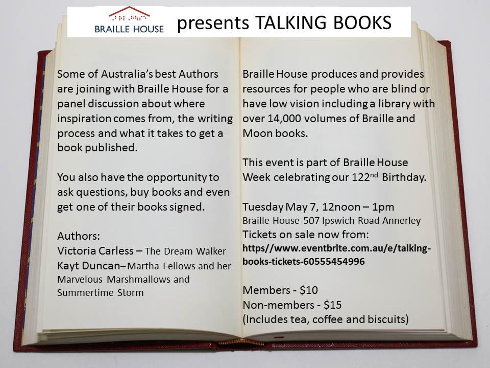 Talking Books May 7 at 12 noon