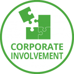 Green jigsaw puzzle pieces with the last corner coming into place and the words Corporate Involvement