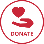 Red heart and hand and word donate