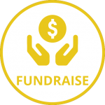 Yellow hands around circle with dollar symbol and word Fundriase