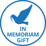 Blue dove in flight with the words In Memoriam Gift