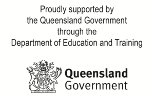 Qld Government logo with acknowledgement of support through the Department of Education and Training