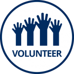 Dark blue group of hands in air and word Volunteer