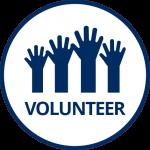 Dark blue group of hands in air and word Volunteer
