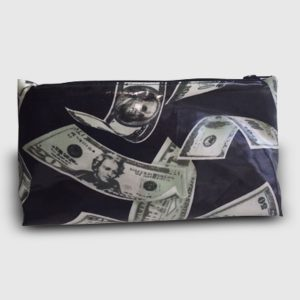 Small cosmetic bag with pattern of American dollar bills on black background