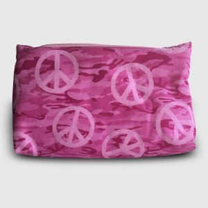 Pink cosmetic bag with a camo and peace sign pattern
