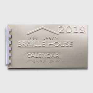 Front of the pocket Braille 2019 Calendar