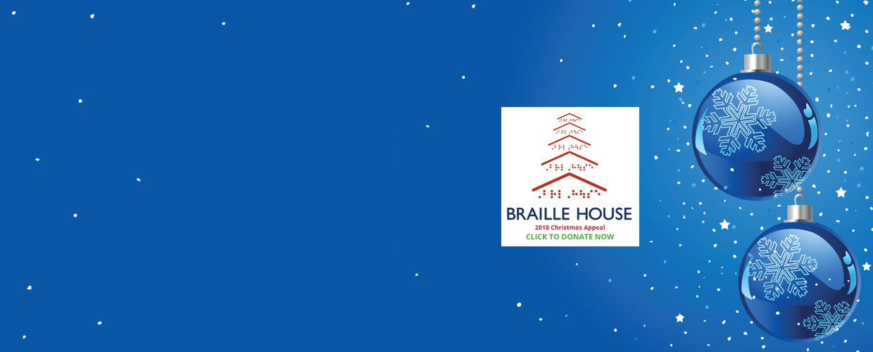 Braille House Christmas appeal click to donate on blue Christmassy background with baubles and stars
