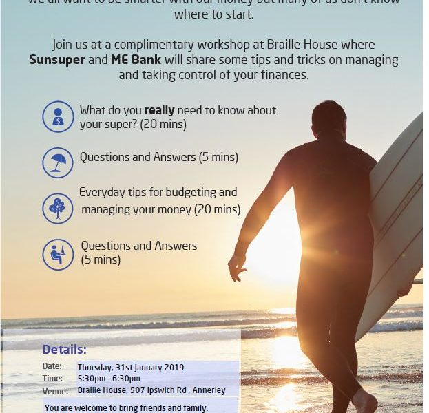 FREE Financial workshop at Braille House