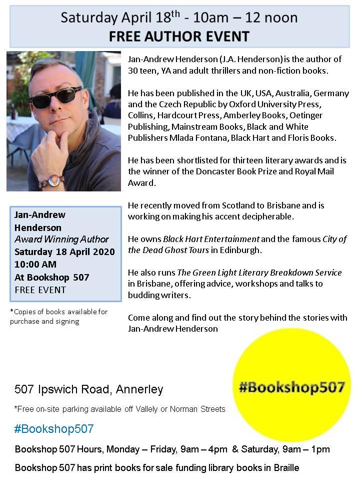 Author event flyer J.A Henderson