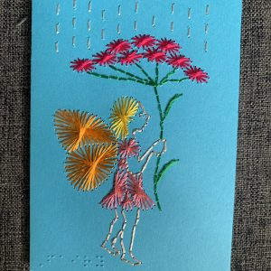 Fairy under flwoer umbrella greeting card