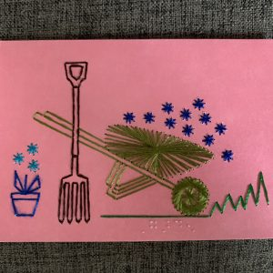 Wheelbarrow & Flowers greeting card