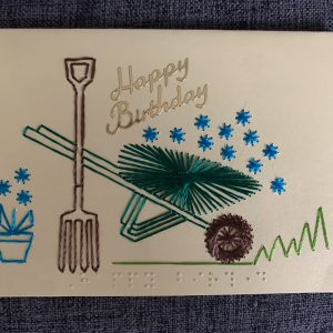 Wheelbarrow & Flowers Birthday Card