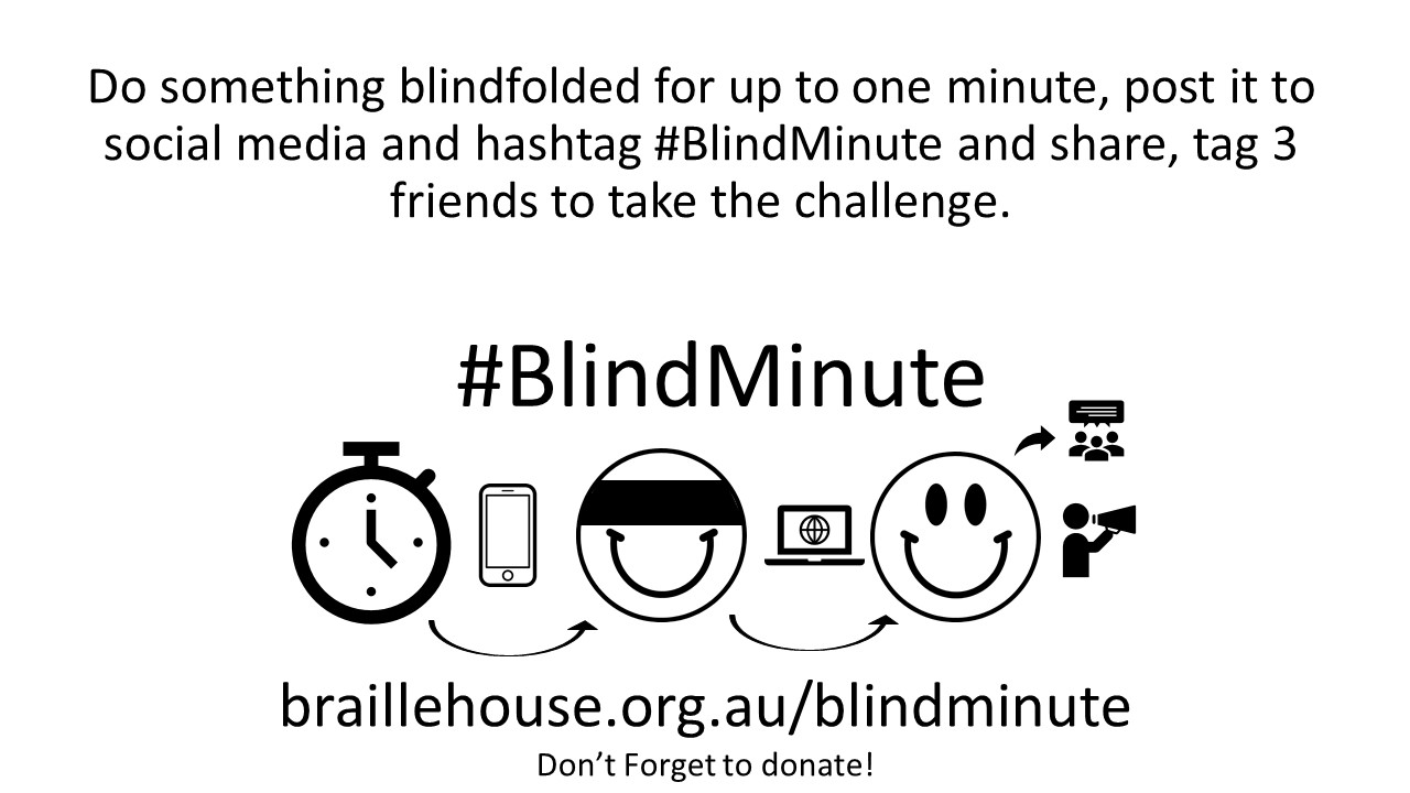 #BlindMinute introduction, picture of a stopwatch and a blindfolded smiley face. Says do something blindfolded for 1 minute and take a video of it, upload it to social media with the hashtag #BlindMinute and nominate 3 friends to do the same